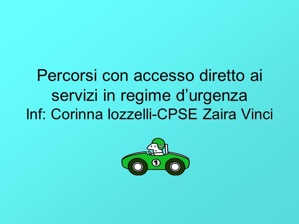 Percorsi con accesso diretto ai servizi in regime durgenza Inf: Corinna Iozzelli-CPSE Zaira Vinci