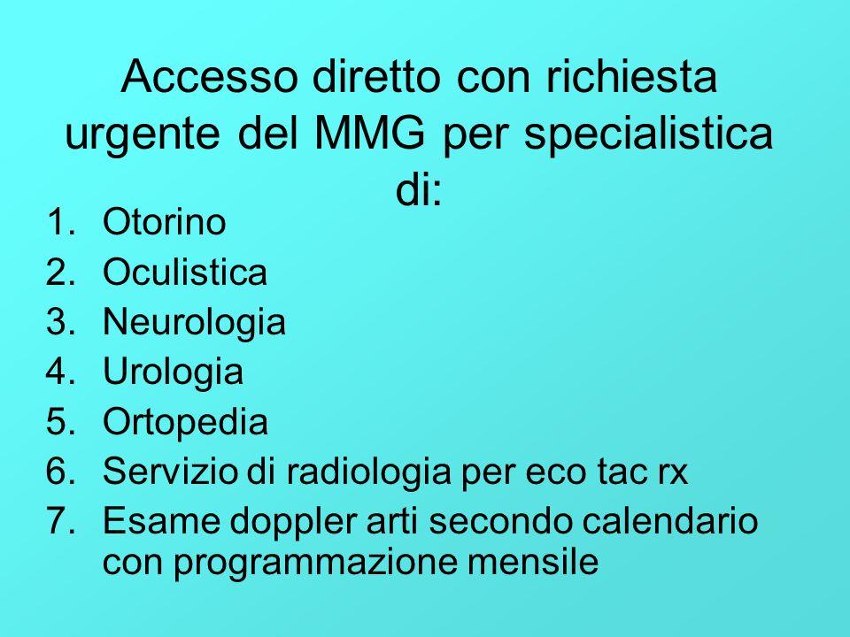 Accesso diretto con richiesta urgente del MMG per specialistica di: 1.Otorino 2.Oculistica 3.Neurologia 4.Urologia 5.Ortopedia 6.Servizio di radiologi
