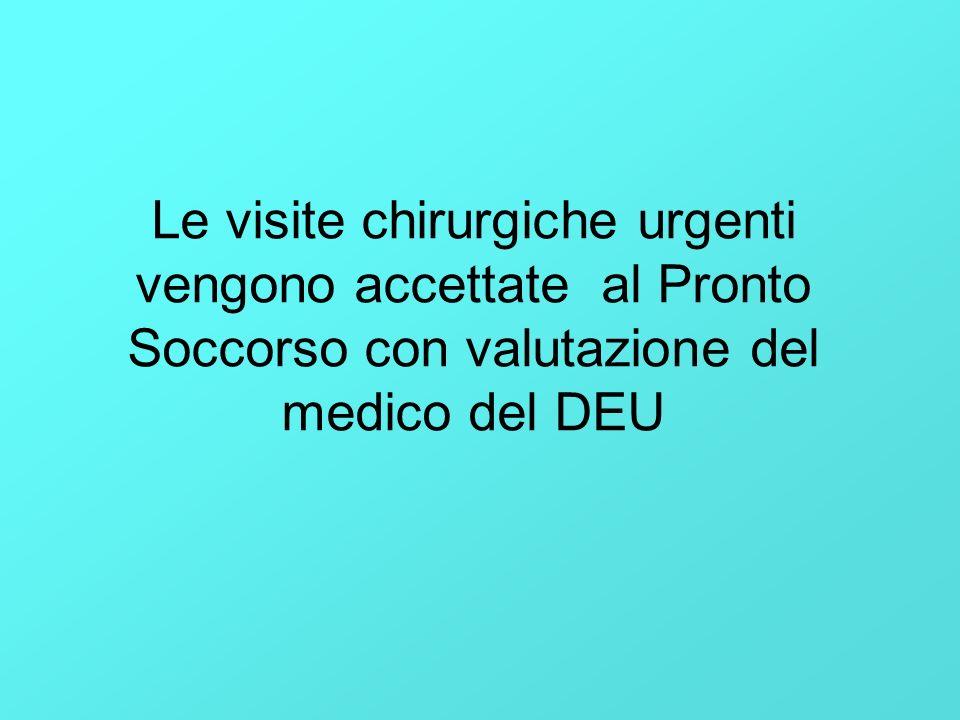 Le visite chirurgiche urgenti vengono accettate al Pronto Soccorso con valutazione del medico del DEU