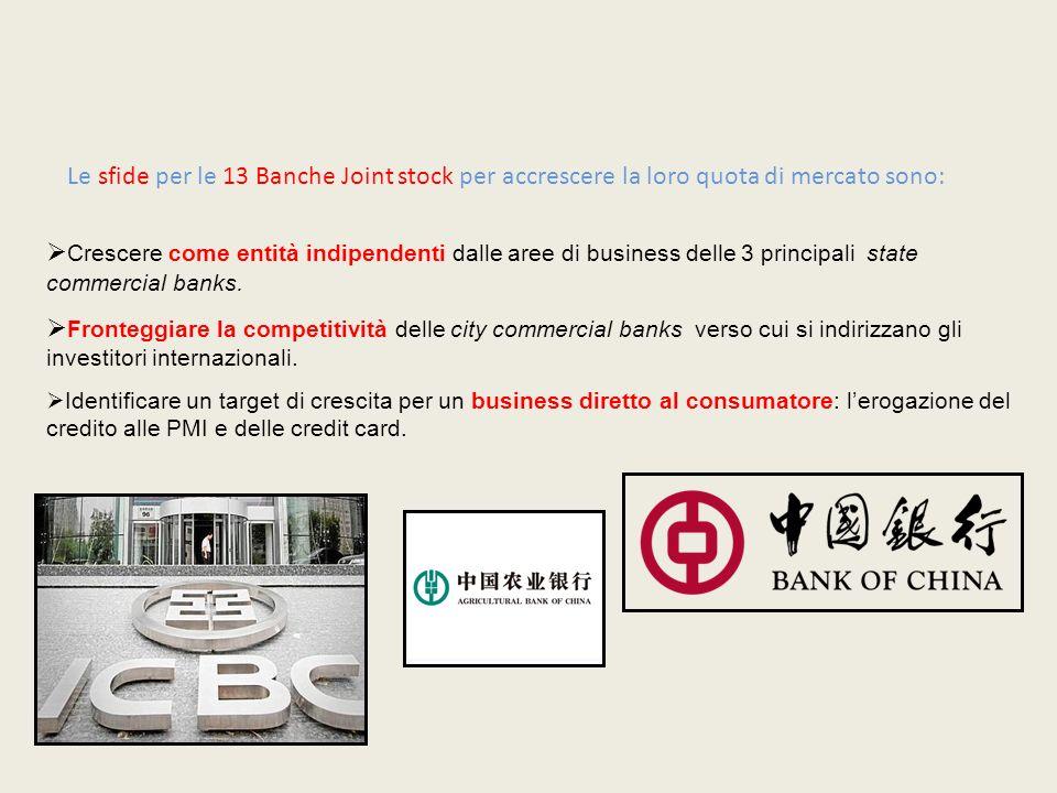 Crescere come entità indipendenti dalle aree di business delle 3 principali state commercial banks. Fronteggiare la competitività delle city commercia