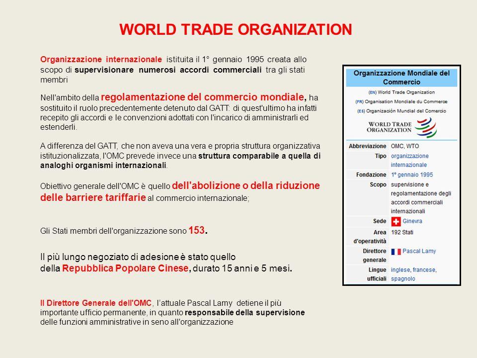 WORLD TRADE ORGANIZATION Nell'ambito della regolamentazione del commercio mondiale, ha sostituito il ruolo precedentemente detenuto dal GATT: di quest