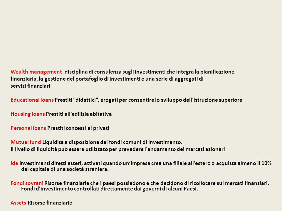 Wealth management disciplina di consulenza sugli investimenti che integra la pianificazione finanziaria, la gestione del portafoglio di investimenti e