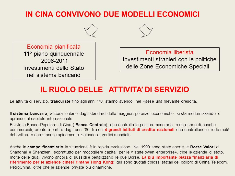 Economia pianificata 11° piano quinquennale 2006-2011 Investimenti dello Stato nel sistema bancario Economia liberista Investimenti stranieri con le p