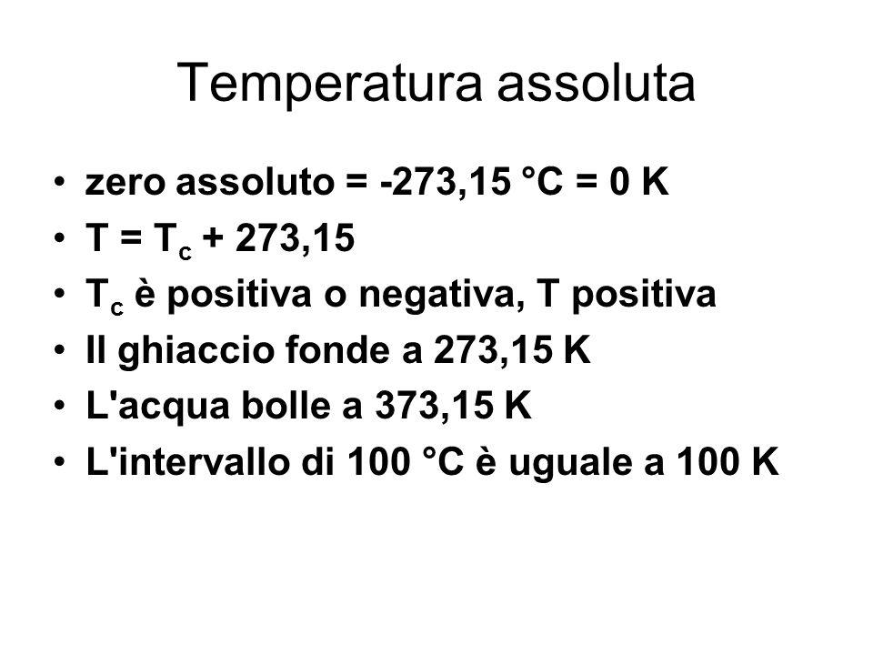 Temperatura assoluta zero assoluto = -273,15 °C = 0 K T = T c + 273,15 T c è positiva o negativa, T positiva Il ghiaccio fonde a 273,15 K L'acqua boll