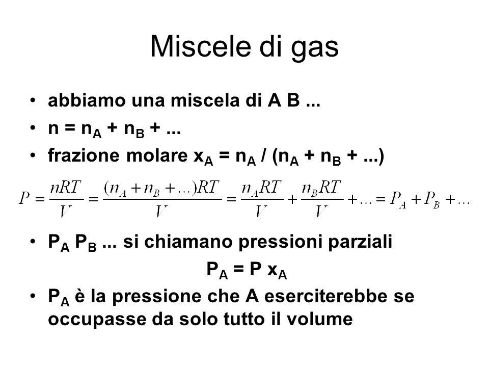 Miscele di gas abbiamo una miscela di A B... n = n A + n B +... frazione molare x A = n A / (n A + n B +...) P A P B... si chiamano pressioni parziali