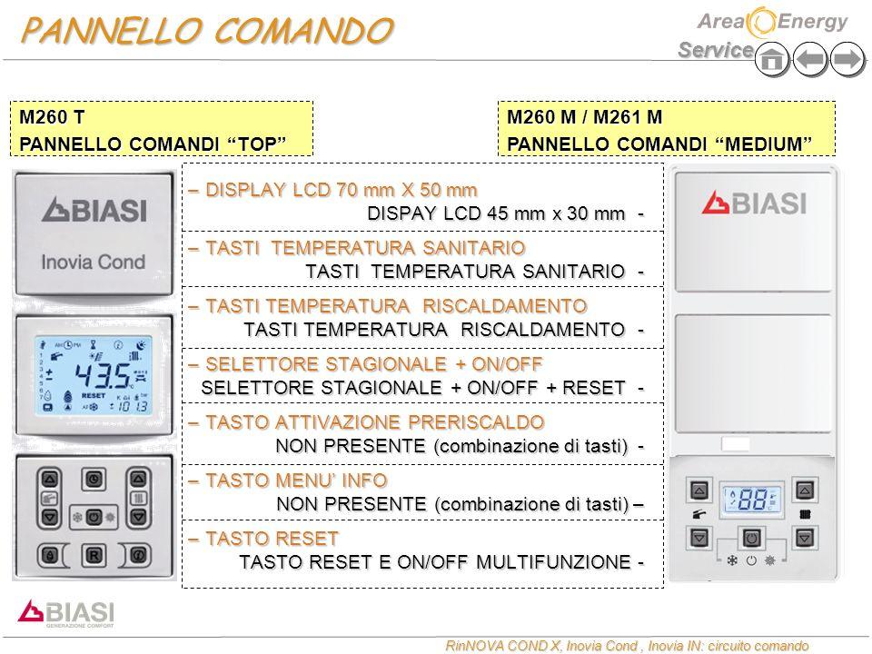Service RinNOVA COND X, Inovia Cond, Inovia IN: circuito comando PANNELLO COMANDO –DISPLAY LCD 70 mm X 50 mm DISPAY LCD 45 mm x 30 mm - –TASTI TEMPERA