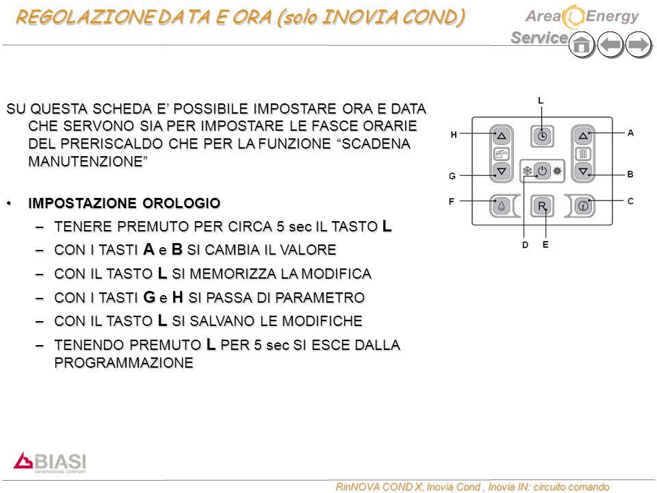 Service RinNOVA COND X, Inovia Cond, Inovia IN: circuito comando REGOLAZIONE DATA E ORA (solo INOVIA COND) SU QUESTA SCHEDA E POSSIBILE IMPOSTARE ORA
