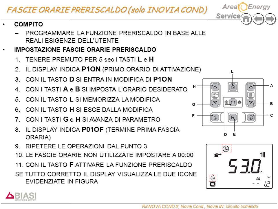 Service RinNOVA COND X, Inovia Cond, Inovia IN: circuito comando FASCIE ORARIE PRERISCALDO (solo INOVIA COND) COMPITOCOMPITO –PROGRAMMARE LA FUNZIONE