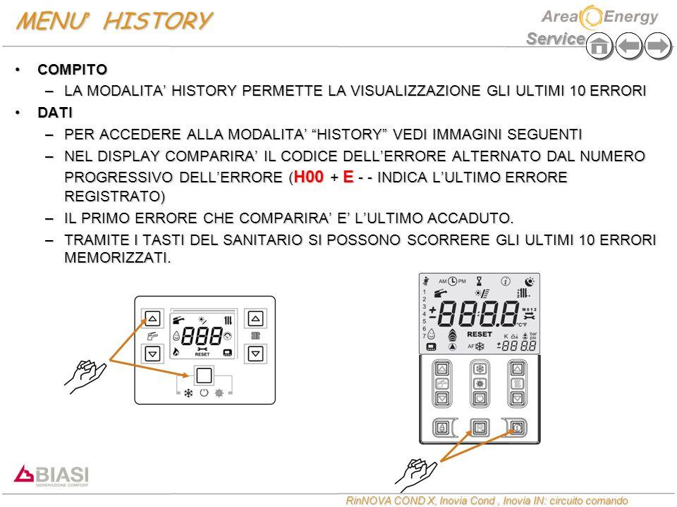 Service RinNOVA COND X, Inovia Cond, Inovia IN: circuito comando MENU HISTORY COMPITOCOMPITO –LA MODALITA HISTORY PERMETTE LA VISUALIZZAZIONE GLI ULTI