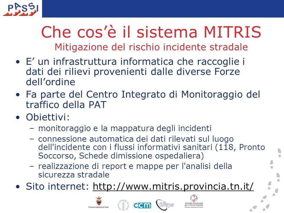 Che cosè il sistema MITRIS Mitigazione del rischio incidente stradale E un infrastruttura informatica che raccoglie i dati dei rilievi provenienti dal