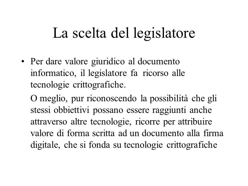 La scelta del legislatore Per dare valore giuridico al documento informatico, il legislatore fa ricorso alle tecnologie crittografiche. O meglio, pur