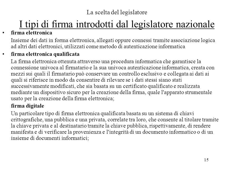 15 La scelta del legislatore I tipi di firma introdotti dal legislatore nazionale firma elettronica Insieme dei dati in forma elettronica, allegati op