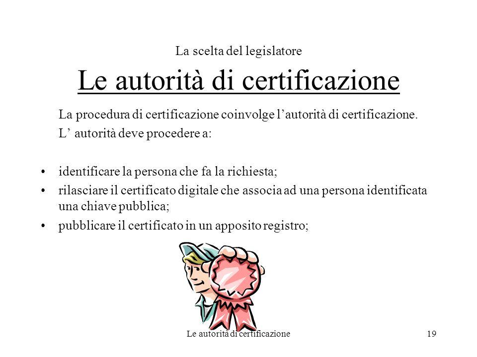 Le autorità di certificazione19 La scelta del legislatore Le autorità di certificazione La procedura di certificazione coinvolge lautorità di certific