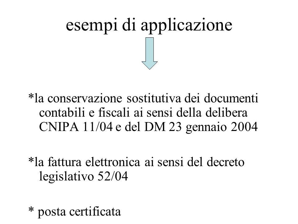 esempi di applicazione *la conservazione sostitutiva dei documenti contabili e fiscali ai sensi della delibera CNIPA 11/04 e del DM 23 gennaio 2004 *l