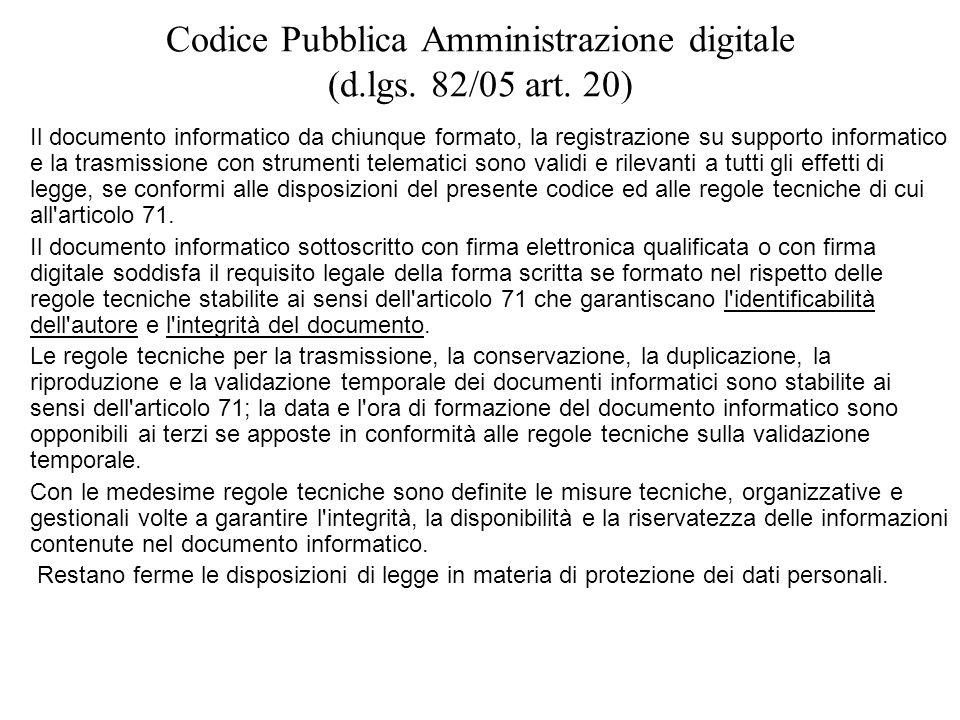 Codice Pubblica Amministrazione digitale (d.lgs. 82/05 art. 20) Il documento informatico da chiunque formato, la registrazione su supporto informatico