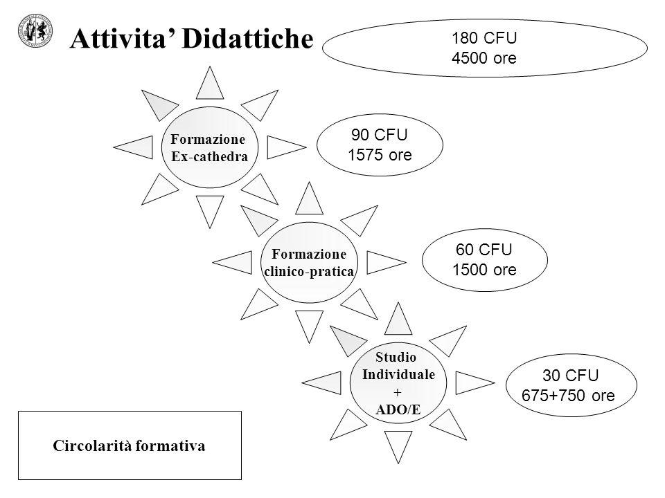 Studio Individuale + ADO/E Formazione Ex-cathedra Formazione clinico-pratica Attivita Didattiche Circolarità formativa 90 CFU 1575 ore 60 CFU 1500 ore 30 CFU 675+750 ore 180 CFU 4500 ore