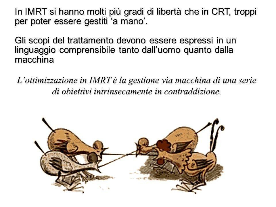 In IMRT si hanno molti più gradi di libertà che in CRT, troppi per poter essere gestiti a mano. Gli scopi del trattamento devono essere espressi in un