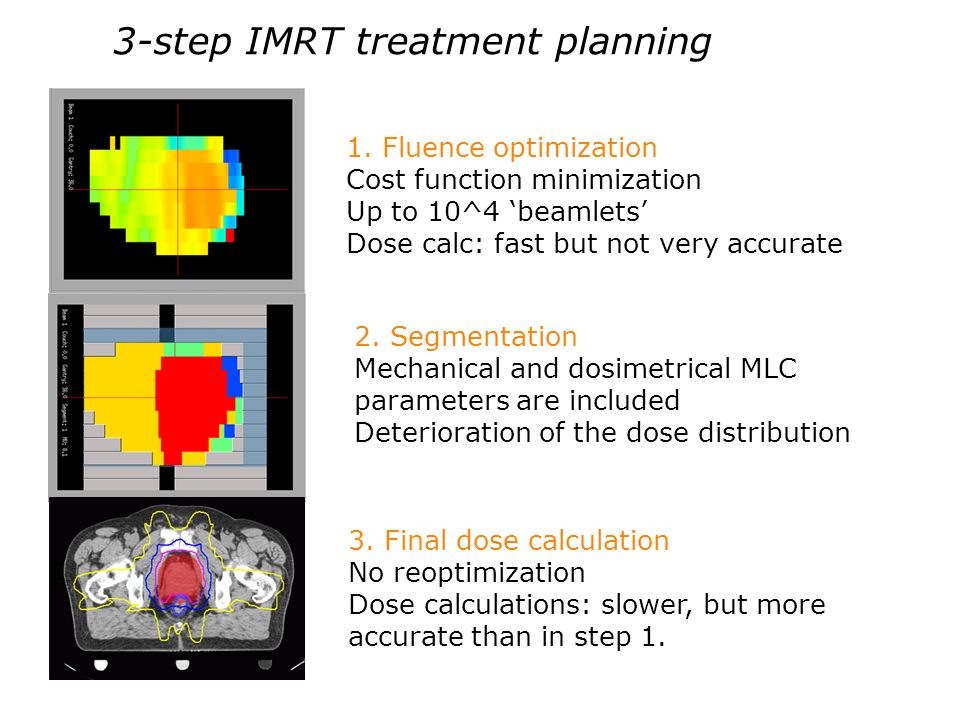 3-step IMRT treatment planning 1. Fluence optimization Cost function minimization Up to 10^4 beamlets Dose calc: fast but not very accurate 2. Segment