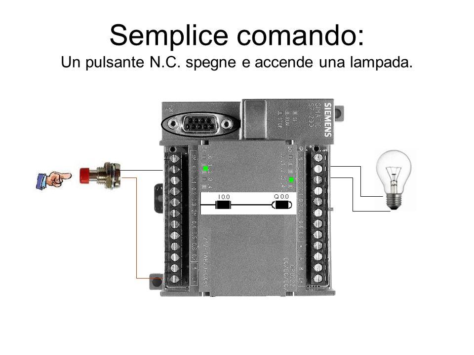 Semplice comando: Un pulsante N.C. spegne e accende una lampada.