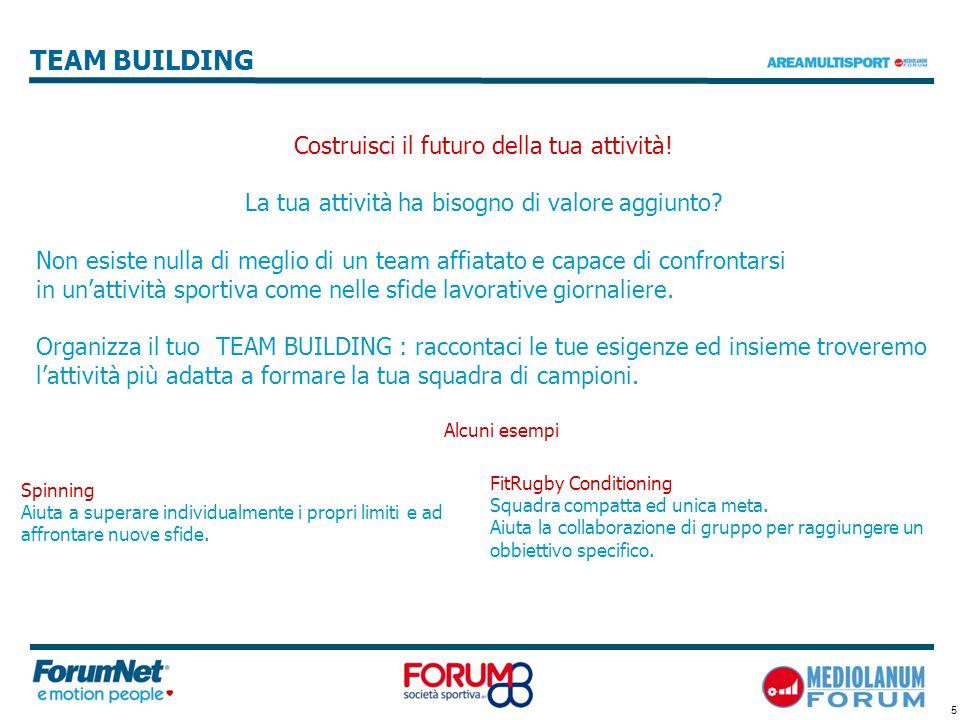 5 TEAM BUILDING Costruisci il futuro della tua attività! La tua attività ha bisogno di valore aggiunto? Non esiste nulla di meglio di un team affiatat