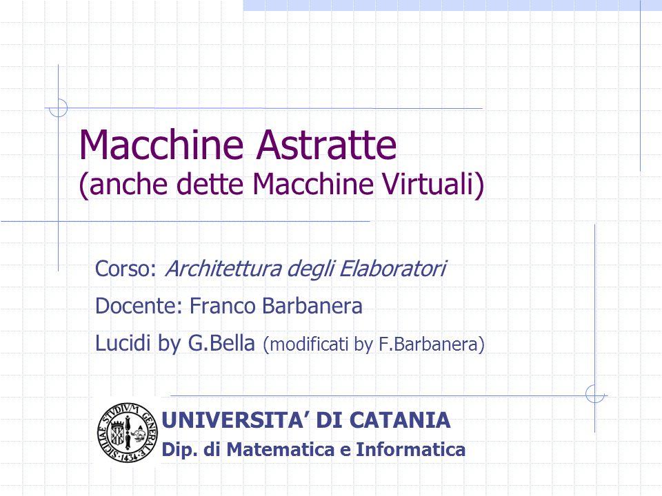 Macchine Astratte Corso: Architettura degli Elaboratori Docente: Franco Barbanera Lucidi by G.Bella (modificati by F.Barbanera) UNIVERSITA DI CATANIA
