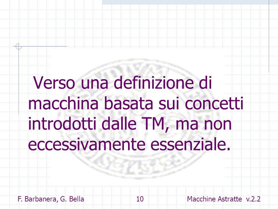 F. Barbanera, G. Bella 10 Macchine Astratte v.2.2 Verso una definizione di macchina basata sui concetti introdotti dalle TM, ma non eccessivamente ess