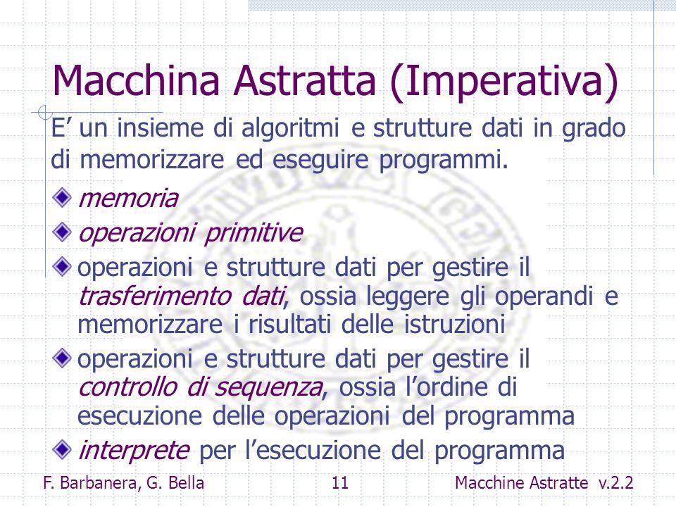 F. Barbanera, G. Bella 11 Macchine Astratte v.2.2 Macchina Astratta (Imperativa) memoria operazioni primitive operazioni e strutture dati per gestire