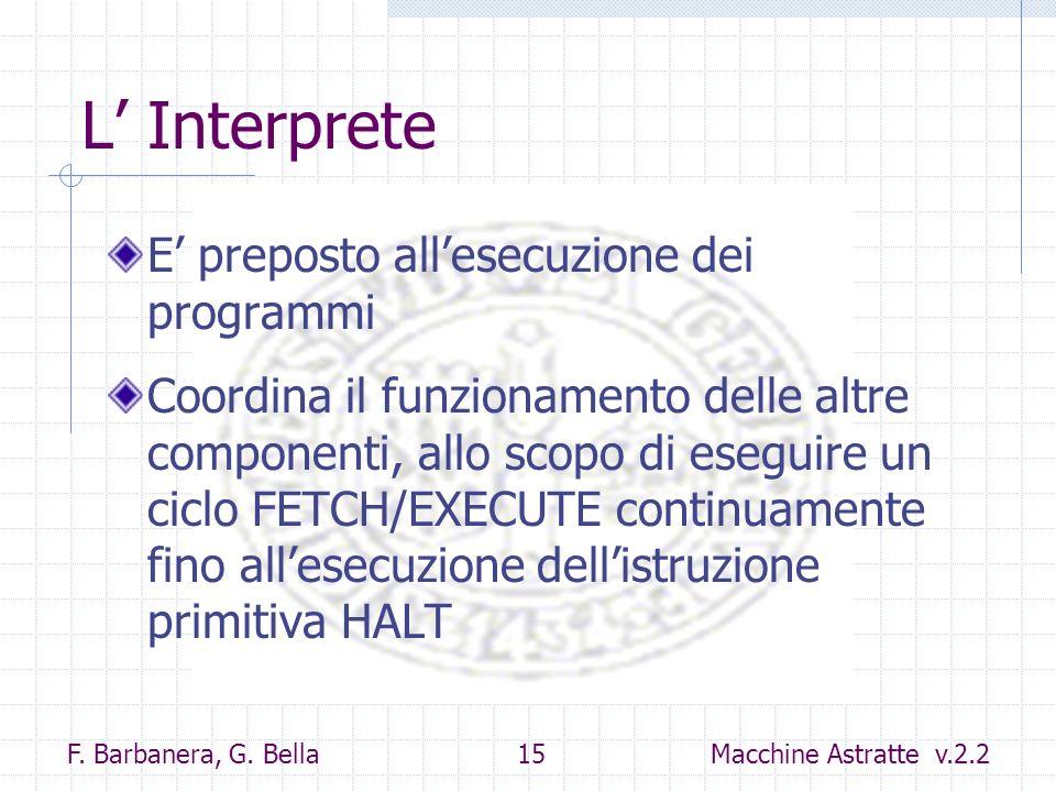 F. Barbanera, G. Bella 15 Macchine Astratte v.2.2 L Interprete E preposto allesecuzione dei programmi Coordina il funzionamento delle altre componenti
