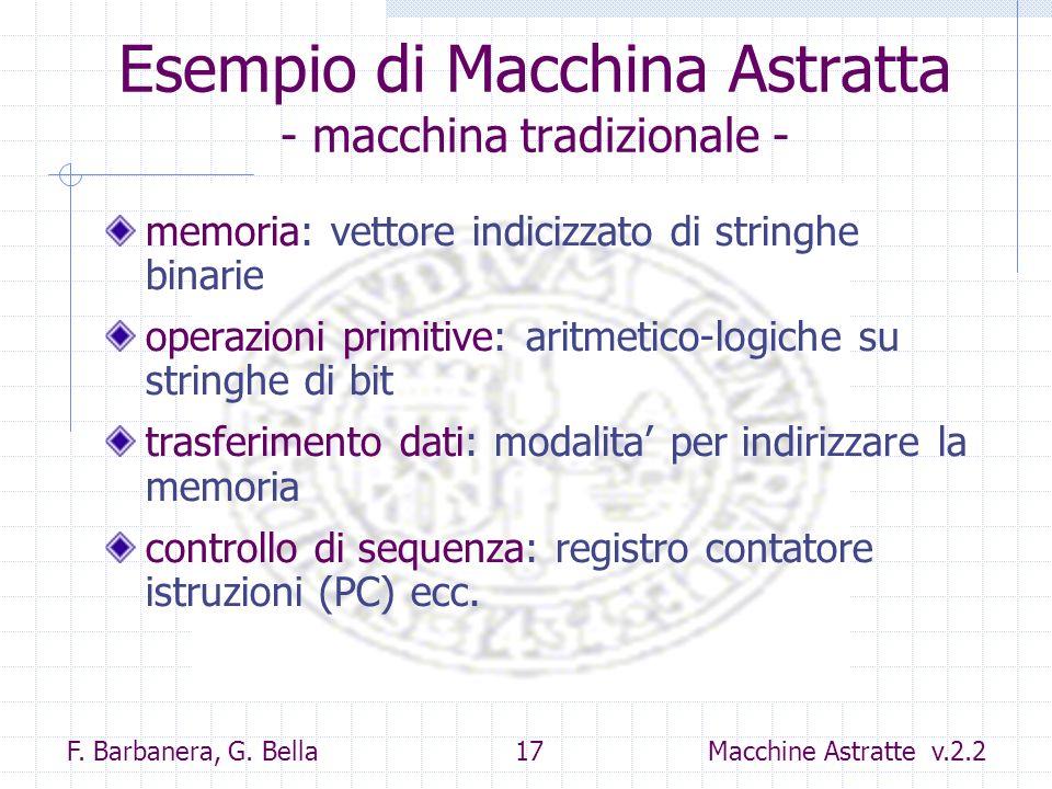 F. Barbanera, G. Bella 17 Macchine Astratte v.2.2 Esempio di Macchina Astratta - macchina tradizionale - memoria: vettore indicizzato di stringhe bina