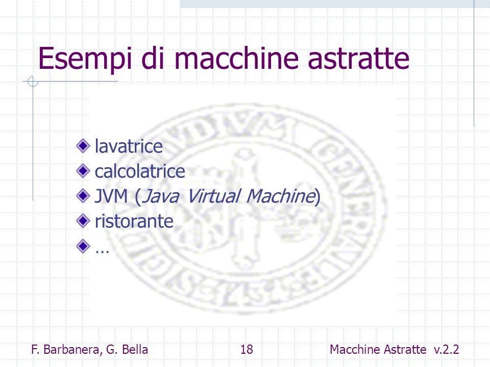 F. Barbanera, G. Bella 18 Macchine Astratte v.2.2 Esempi di macchine astratte lavatrice calcolatrice JVM (Java Virtual Machine) ristorante …