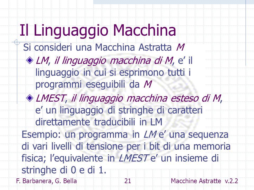 F. Barbanera, G. Bella 21 Macchine Astratte v.2.2 Il Linguaggio Macchina LM, il linguaggio macchina di M, e il linguaggio in cui si esprimono tutti i