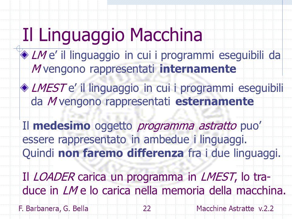 F. Barbanera, G. Bella 22 Macchine Astratte v.2.2 Il Linguaggio Macchina LM e il linguaggio in cui i programmi eseguibili da M vengono rappresentati i