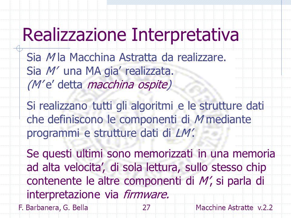 F. Barbanera, G. Bella 27 Macchine Astratte v.2.2 Realizzazione Interpretativa Sia M la Macchina Astratta da realizzare. Sia M una MA gia realizzata.