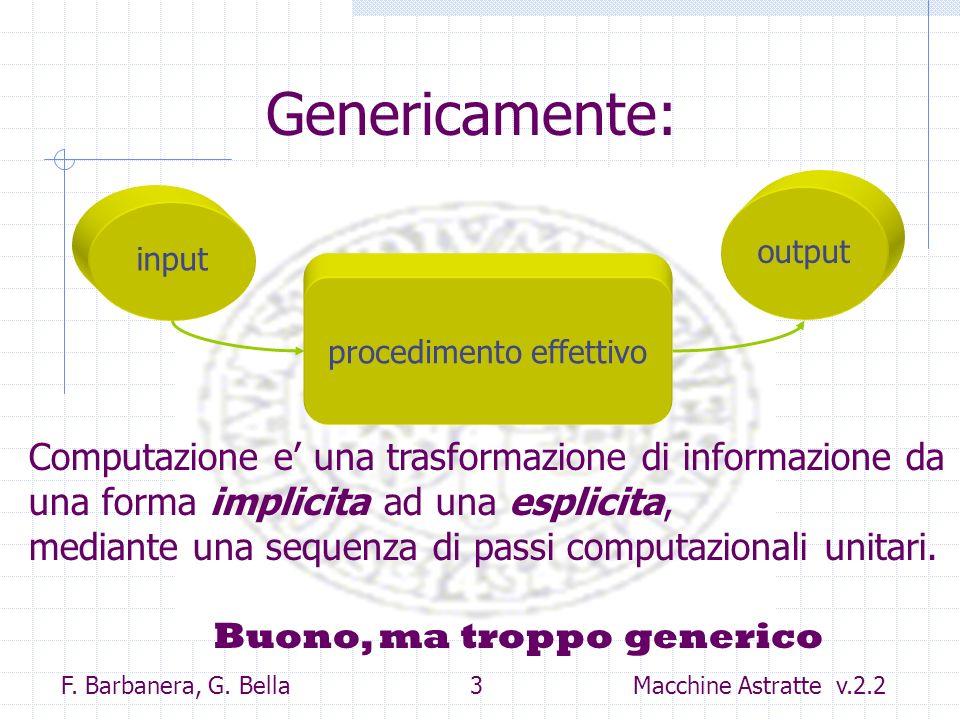 F. Barbanera, G. Bella 3 Macchine Astratte v.2.2 Genericamente: input output procedimento effettivo Computazione e una trasformazione di informazione