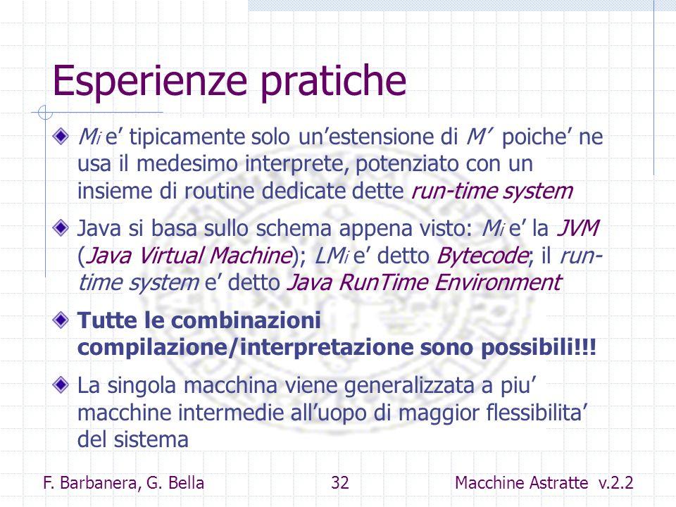 F. Barbanera, G. Bella 32 Macchine Astratte v.2.2 Esperienze pratiche M i e tipicamente solo unestensione di M poiche ne usa il medesimo interprete, p