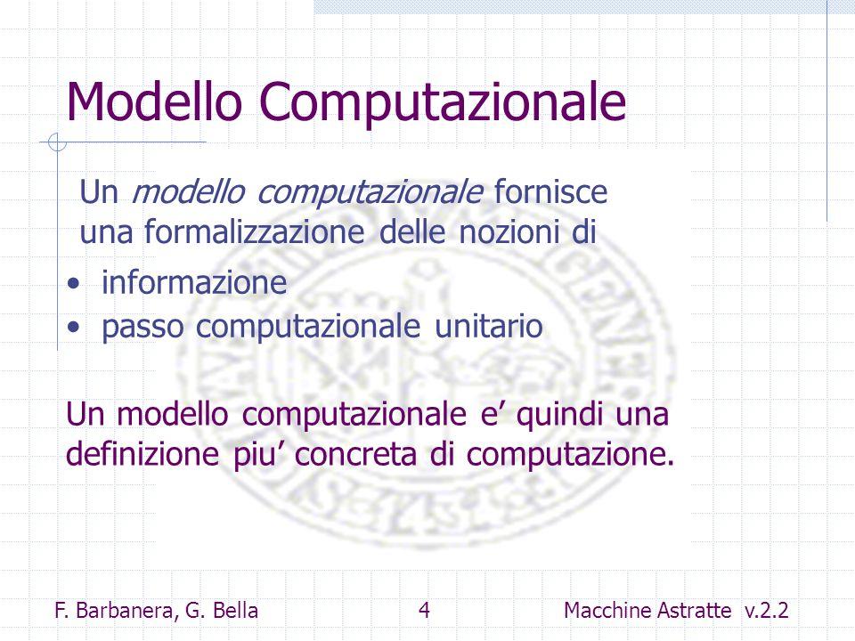 F. Barbanera, G. Bella 4 Macchine Astratte v.2.2 Modello Computazionale informazione passo computazionale unitario Un modello computazionale fornisce