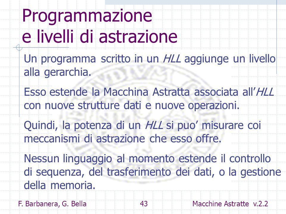 F. Barbanera, G. Bella 43 Macchine Astratte v.2.2 Programmazione e livelli di astrazione Un programma scritto in un HLL aggiunge un livello alla gerar