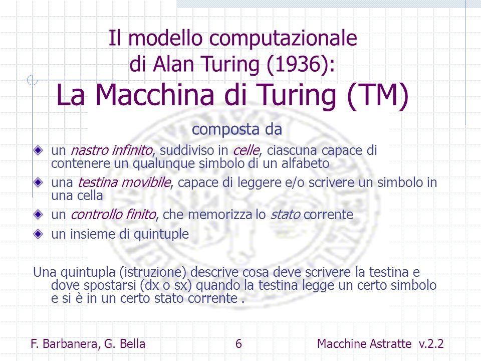 F. Barbanera, G. Bella 6 Macchine Astratte v.2.2 un nastro infinito, suddiviso in celle, ciascuna capace di contenere un qualunque simbolo di un alfab