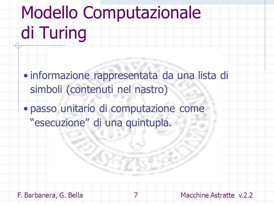 F. Barbanera, G. Bella 7 Macchine Astratte v.2.2 Modello Computazionale di Turing informazione rappresentata da una lista di simboli (contenuti nel na