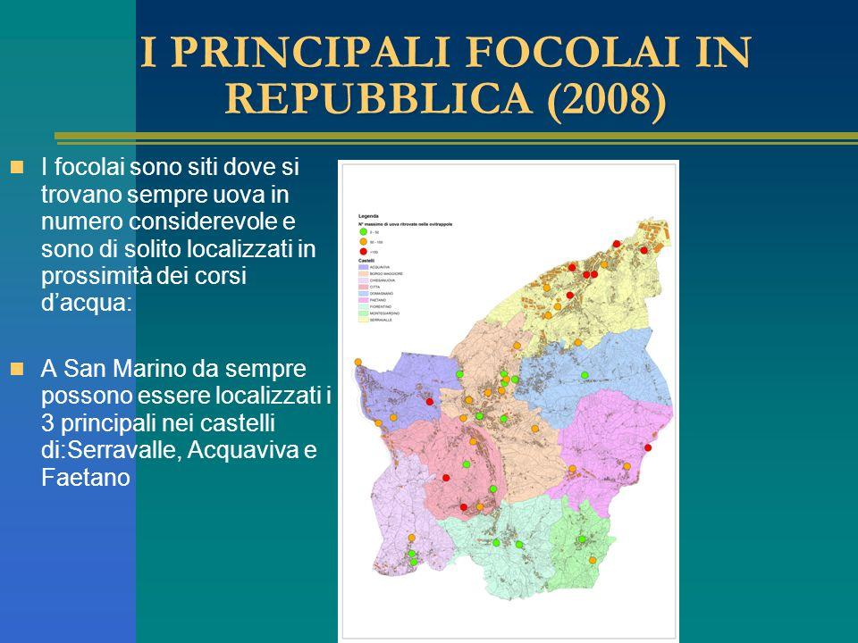 I PRINCIPALI FOCOLAI IN REPUBBLICA (2008) I focolai sono siti dove si trovano sempre uova in numero considerevole e sono di solito localizzati in prossimità dei corsi dacqua: A San Marino da sempre possono essere localizzati i 3 principali nei castelli di:Serravalle, Acquaviva e Faetano