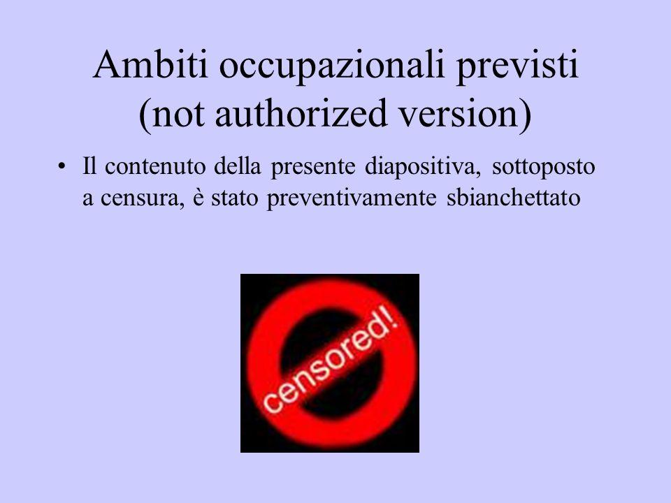 Ambiti occupazionali previsti (not authorized version) Il contenuto della presente diapositiva, sottoposto a censura, è stato preventivamente sbianche