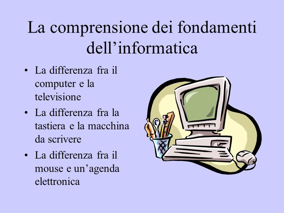 La comprensione dei fondamenti dellinformatica La differenza fra il computer e la televisione La differenza fra la tastiera e la macchina da scrivere