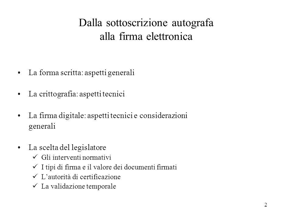 2 Dalla sottoscrizione autografa alla firma elettronica La forma scritta: aspetti generali La crittografia: aspetti tecnici La firma digitale: aspetti