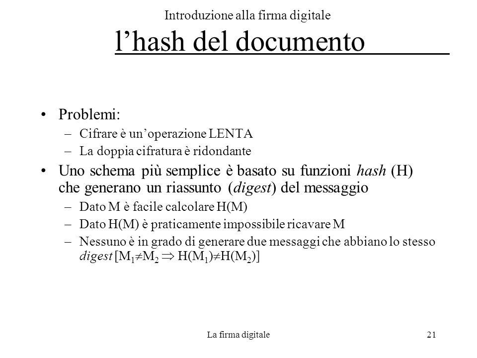 La firma digitale21 Introduzione alla firma digitale lhash del documento Problemi: –Cifrare è unoperazione LENTA –La doppia cifratura è ridondante Uno