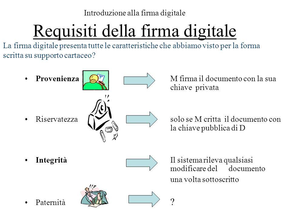 Introduzione alla firma digitale Requisiti della firma digitale ProvenienzaM firma il documento con la sua chiave privata Riservatezzasolo se M critta