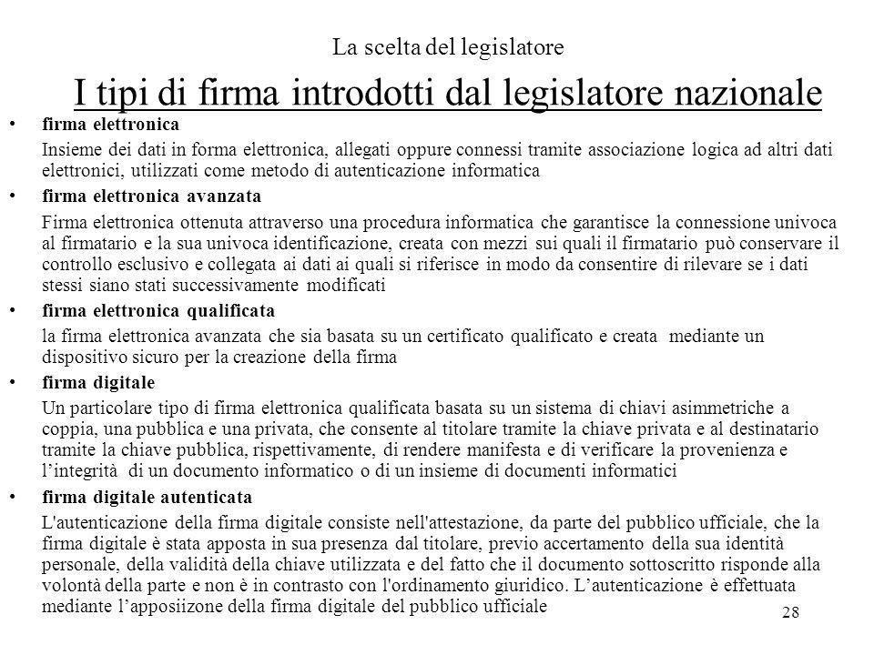 28 La scelta del legislatore I tipi di firma introdotti dal legislatore nazionale firma elettronica Insieme dei dati in forma elettronica, allegati op