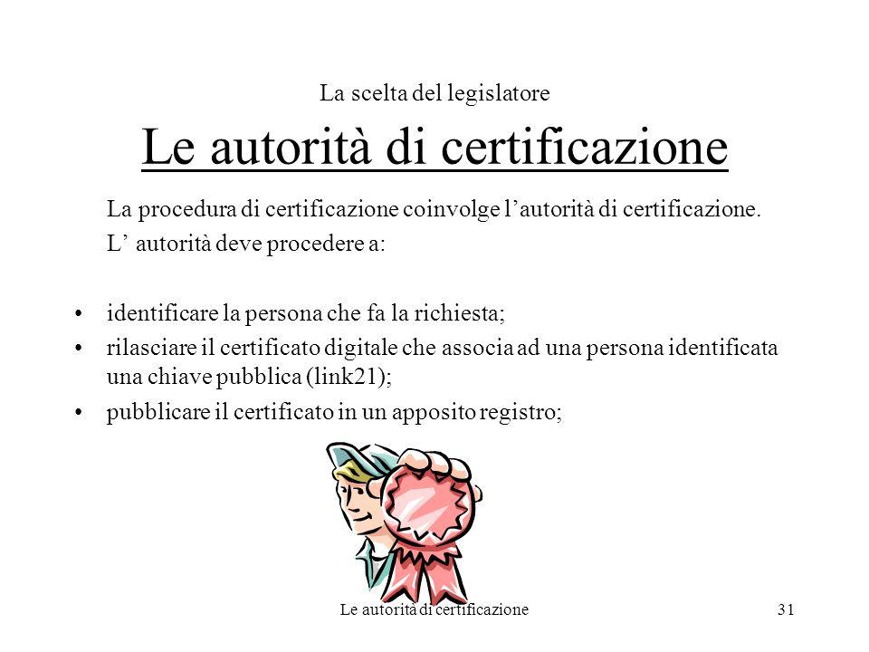 Le autorità di certificazione31 La scelta del legislatore Le autorità di certificazione La procedura di certificazione coinvolge lautorità di certific