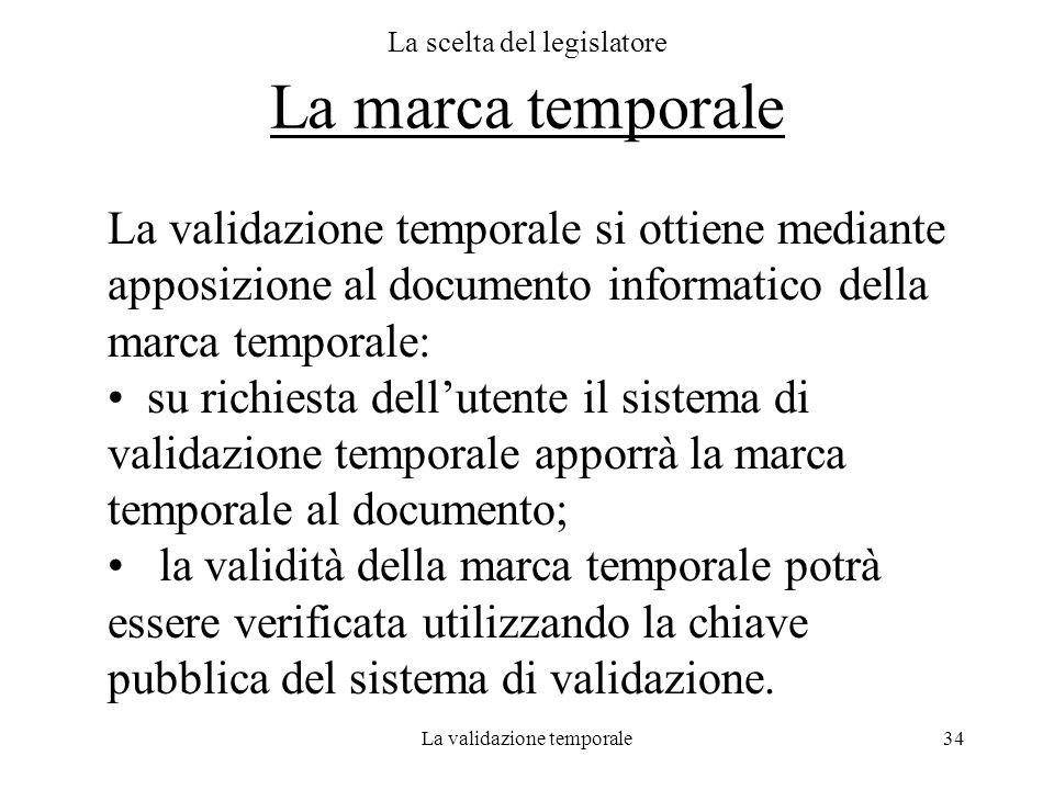 La validazione temporale34 La scelta del legislatore La marca temporale La validazione temporale si ottiene mediante apposizione al documento informat