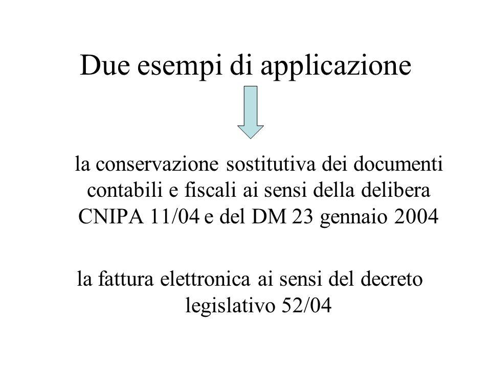 Due esempi di applicazione la conservazione sostitutiva dei documenti contabili e fiscali ai sensi della delibera CNIPA 11/04 e del DM 23 gennaio 2004