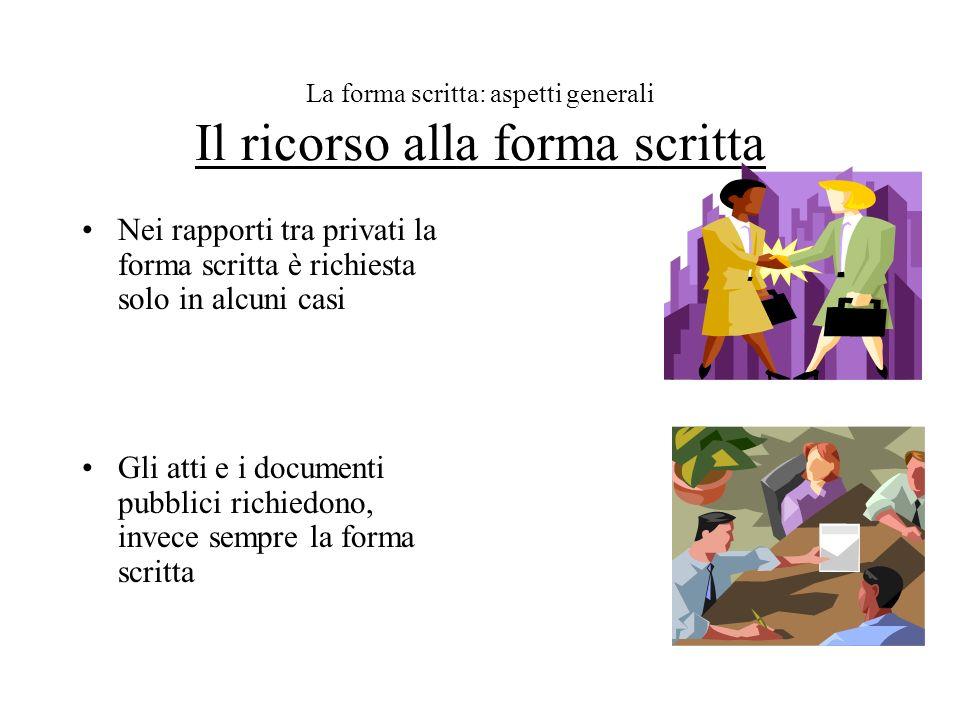 La forma scritta: aspetti generali Il ricorso alla forma scritta Nei rapporti tra privati la forma scritta è richiesta solo in alcuni casi Gli atti e